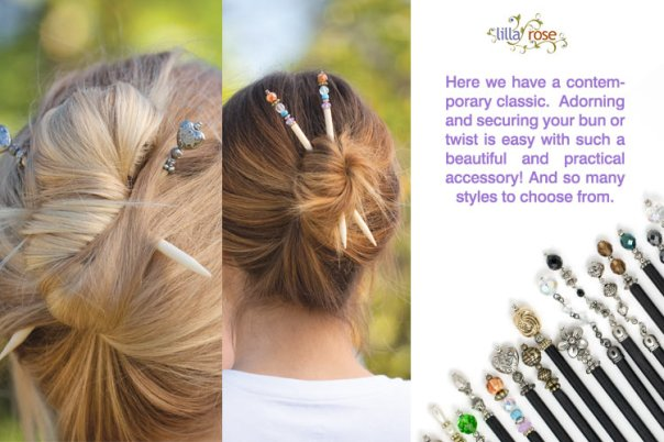 Use your Lilla Rose hairsticks to hold an elegant French twist.